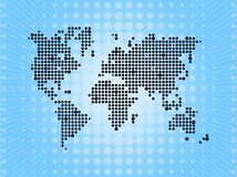 World pixel map on blue background Stock Images