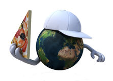 The world with a pizza and hat Royalty Free Stock Images