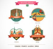 World Places - Paris, Toronto, Barcelona, Sahara Royalty Free Stock Photography