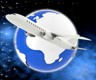 World Plane Means Travel Guide And Air Royalty Free Stock Photos