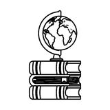 World planet with books school supply Stock Photos