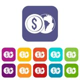 World planet and dollar coin icons set flat Royalty Free Stock Photography