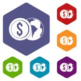 World planet and dollar coin icons set hexagon Royalty Free Stock Images