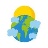 World planet earth with clouds and sun Stock Image