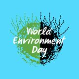 Planet earth with growing shoots. Hand drawn lettering of World Environment Day. Vector illustration stock illustration
