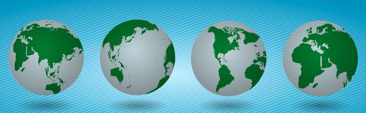 World planet earth set. four globes of the different sides. Vector illustration isolated on white background stock illustration