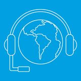 World planet and headset icon, outline style Royalty Free Stock Photo