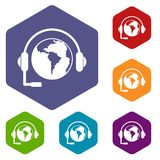 World planet and headset icons set hexagon Stock Images