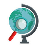 World planet with magnifying glass school supply Royalty Free Stock Photos