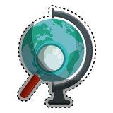 World planet with magnifying glass school supply Stock Photography