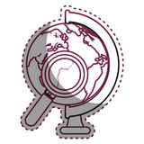 World planet with magnifying glass school supply Royalty Free Stock Images