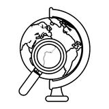 World planet with magnifying glass school supply Stock Images