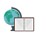 World planet with notebook school supply Royalty Free Stock Image