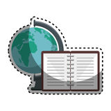 World planet with notebook school supply Royalty Free Stock Images
