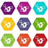 World planet and speech bubbles icon set color hexahedron. World planet and speech bubbles icon set many color hexahedron isolated on white vector illustration stock illustration