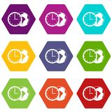 World planet with watch icon set color hexahedron Stock Photos