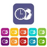 World planet with watch icons set flat Stock Photography