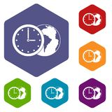 World planet with watch icons set hexagon Stock Photos