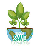 World with plant lets save the world Stock Image