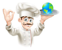 World on a plate. Chef presenting world globe on a plate. Could be business concept for having the world on plate or success and opportunity or alternatively for Stock Photography