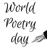 World Poetry Day illustration with ink fountain pen, made in black and white 3d. Design for card, print or t-shirt. Stock Photos