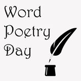 World Poetry Day illustration with ink pot and feather, made in black and white. Design for card, print or t-shirt. Royalty Free Stock Images