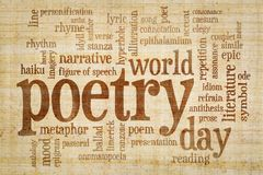 World poetry day -word cloud. World poetry day - word cloud on papyrus paper with yellow and brown fiber pattern stock photography