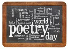 World poetry day -word cloud. World poetry day word cloud - white chalk text on a slate blackboard isolated on white royalty free stock image