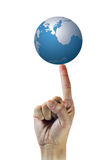 World on pointing finger Royalty Free Stock Photo