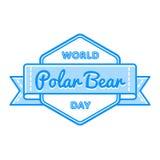 World Polar Bear day greeting emblem. World Polar Bear day emblem isolated raster illustration on white background. 27 february animal rights protection holiday Royalty Free Stock Image