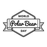 World Polar Bear day greeting emblem. World Polar Bear day emblem isolated raster illustration on white background. 27 february animal rights protection holiday Stock Photo