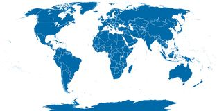 World Political Map Outline. Detailed map of the world with shorelines and national borders under the Robinson projection. Blue illustration on white Stock Image