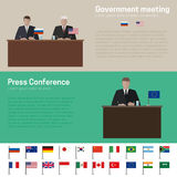 World Politics. And press conference banners with simple flags icons of the countries in flat style royalty free illustration