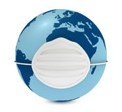 World pollution. One 3d render of a globe with a respirator Royalty Free Stock Photography