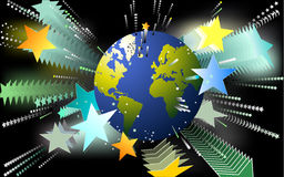 World popularity. Artistic background with globe and stars Royalty Free Stock Photo