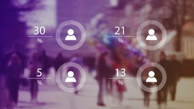 World Population Data Presentation Concept with Blur People Crowd and Animated Charts with Percentage Numbers royalty free illustration