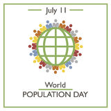 World Population Day, July 11. Vector illustration for you design, card, banner, poster and calendar Stock Photos