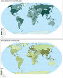 World population map (). Collection of two world maps with population and population density (inhabitants/square kilometer Royalty Free Stock Photos
