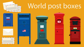 World Post Boxes Stock Photo