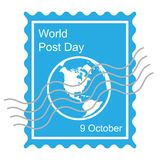 World post day with globe icon - vector illustration. World post day in October with globe icon - vector illustration Stock Image