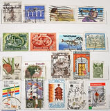 World Post Stamps. On White Background royalty free stock photos