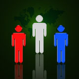 World Power 2. Red, White and Blue figures stand in front of a map of the world Vector Illustration