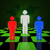 World Power. Red, White and Blue figures stand on a chessboard in front of a map of the world Royalty Free Illustration