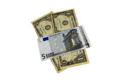 The world is in the power of the Euro and the dollar Royalty Free Stock Image