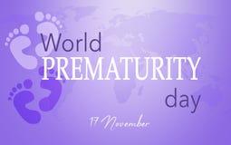 World Prematurity day. 17 November, Purple background stock illustration