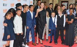 World Premiere of `First They Killed My Father` with Director Angelina Jolie at Toronto International Film Festival. Angelina Jolie, kids and cast members at the Royalty Free Stock Images