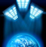 World premiere light show. World premiere lights illuminating blue globe on dark background stock illustration