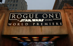 World premiere of `Rogue One: A Star Wars Story`. Held at the Pantages Theatre in Hollywood, USA on December 10, 2016 Stock Photos