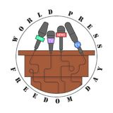 World Press Freedom Day. Banner. Journalists microphone kit. Vector illustration eps 10 Royalty Free Stock Photos
