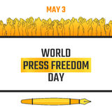 World press freedom day, May 3. Vector hand drawn illustration. Crowd of people with their arms raised, voting for free information. Isolated on white Royalty Free Stock Photo